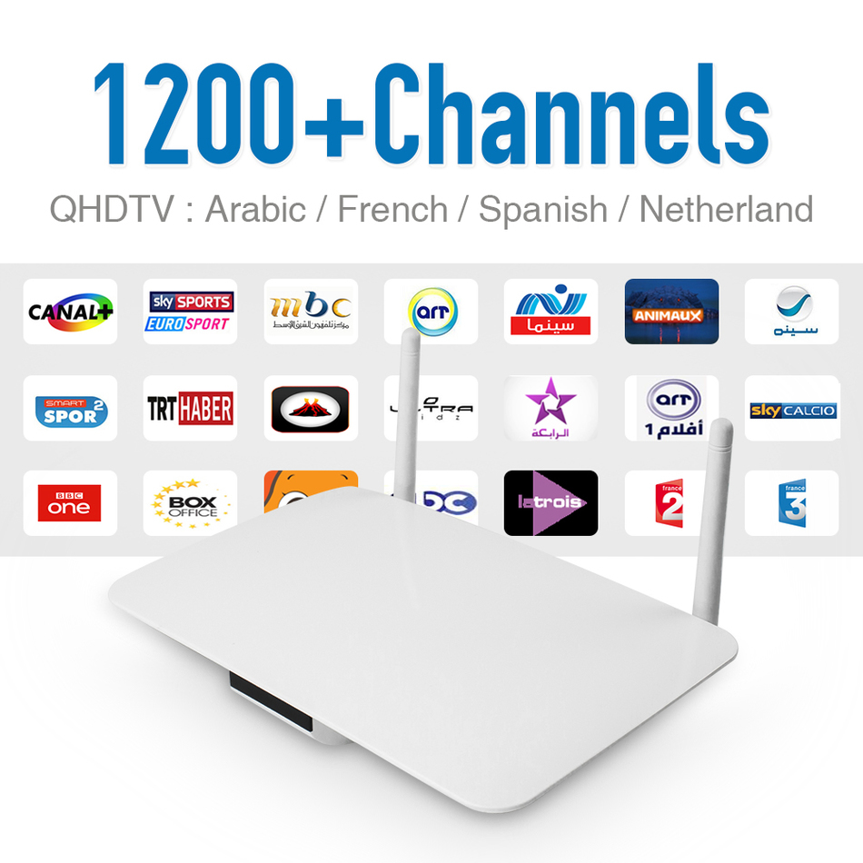 Android Smart Tv Set Top Box Fast CPU IPTV Box With Europe Arabic IPTV Account Arabic French Sport 1200+ Channels HD Media Box