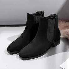 Boots Women Keep Warm Chelsea Boots Square Heel Flat Bottom Women's Winter Boots Fashion Brand Design High Quality trendy flat heel and tie up design women s boots