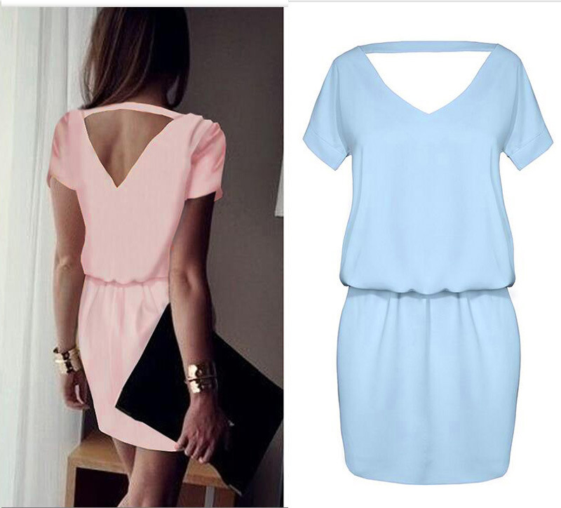 Fashion Unice Women Clothing Chiffon Dress 2017 V-neck Short Slevees Summer Women Casual Loose Short Mini Dresses Vestidos Mujer