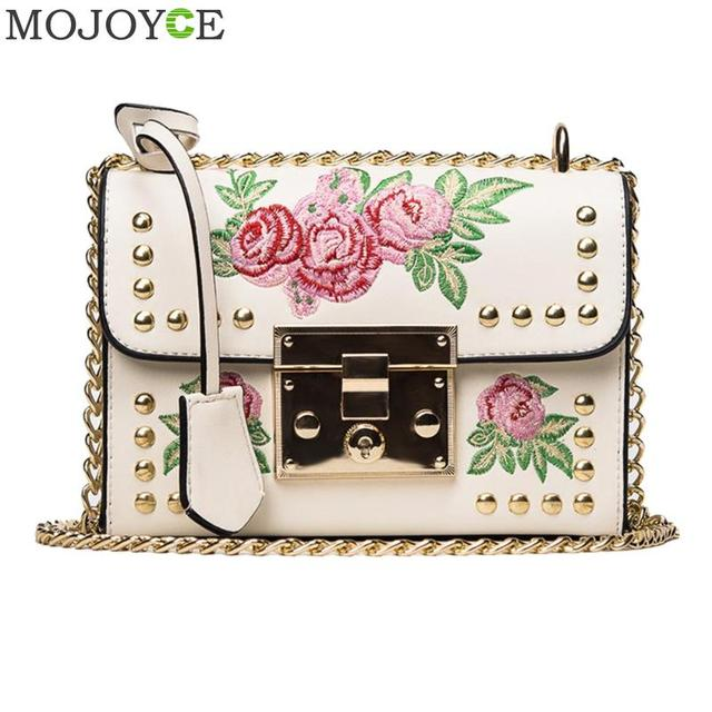 Women Embroidery Flower Bag Fashion Flap Rivet PU Leather Messenger Bag Sling Small Shoulder Bags Crossbody Messenger Bags 2