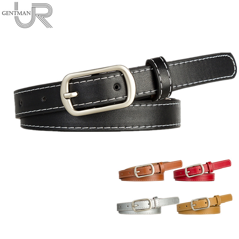 Hot Women PU Leather Belt Sliver Rectangle Pin Buckle Belt Female Leisure 1.8cm Width Jeans Belt 108cm Strap Belt For Women