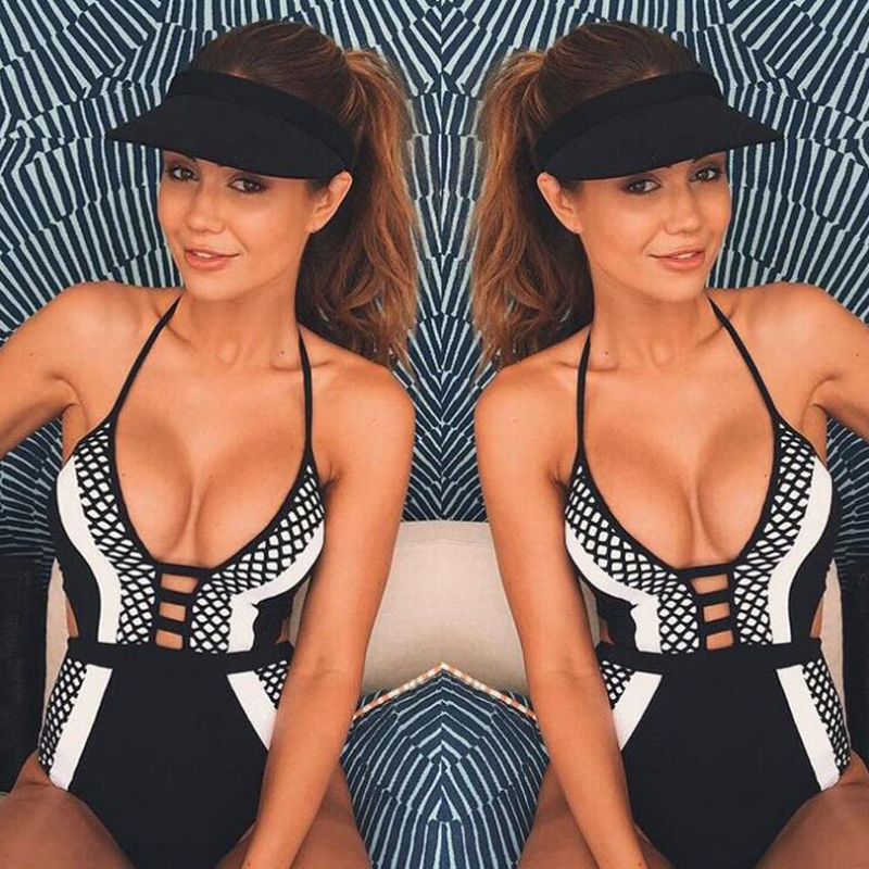 Women Sexy One Piece Swimsuit Black And White Matching Design Mesh Swimwear Halter Bathing Suit Hot Summer Hollow Out Beachwear women s fashionable sexy mesh one piece underwear white