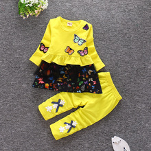 Girls Clothing Sets New Fashion Butterfly Dress And Pants 2 Pcs Baby Girl Cotton Dress Suits For Kids Children Clothing Costume