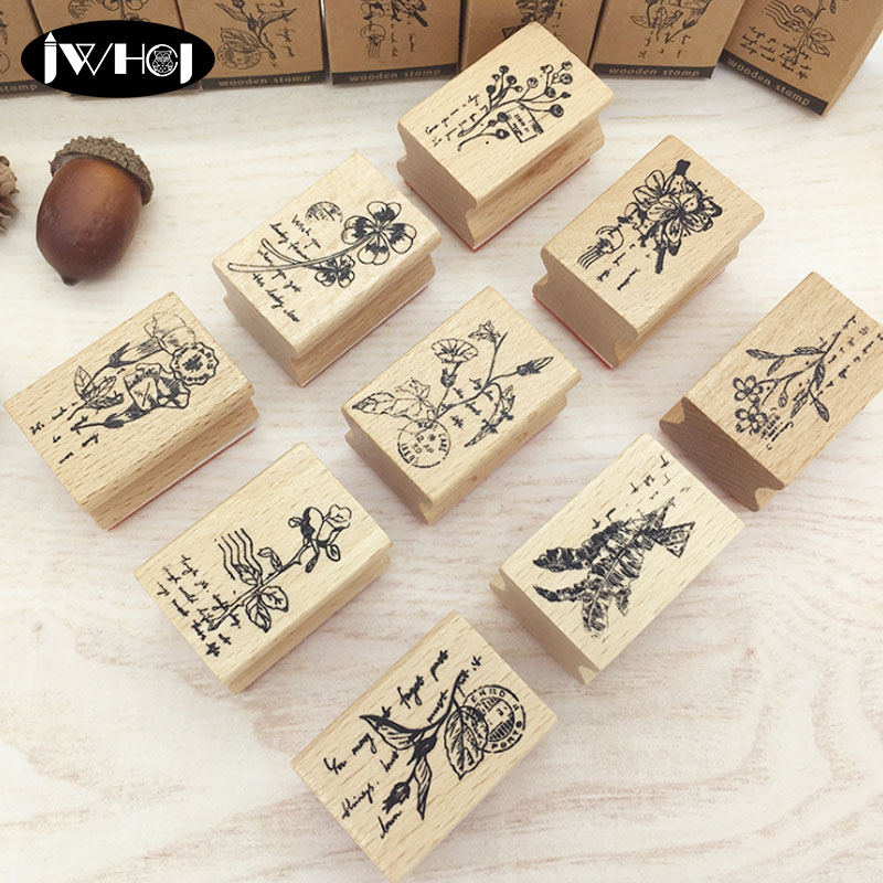 1x Rubber Wooden Stamps Animal Plants Seal Wax Stamp for Crafts Card Making