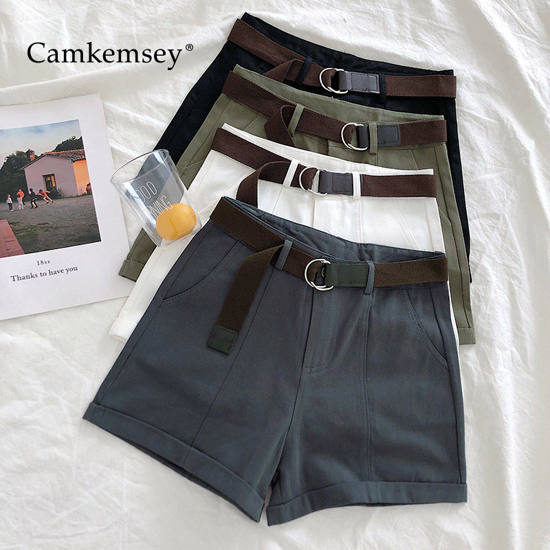 CamKemsey Summer Shorts Women 2019 Korean Casual High Waist Classic Cuffed Cargo Shorts With Sashes 5 Colors