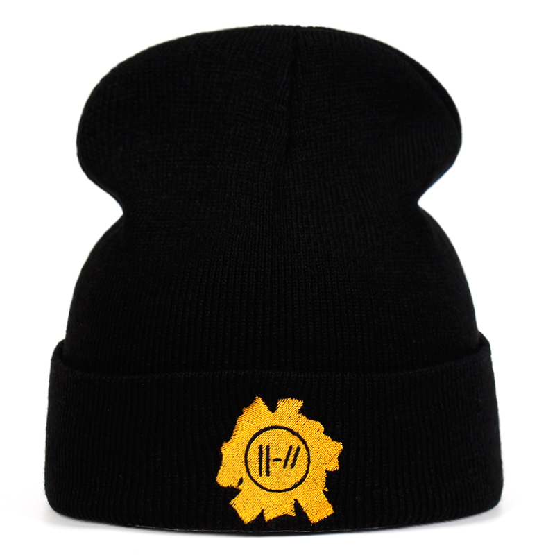 Rock Band Twenty One Pilots Beanie Cap Embroidery Cosplay Costume Accessories Knitted Hat Costume Accessory Gifts Warm Winter