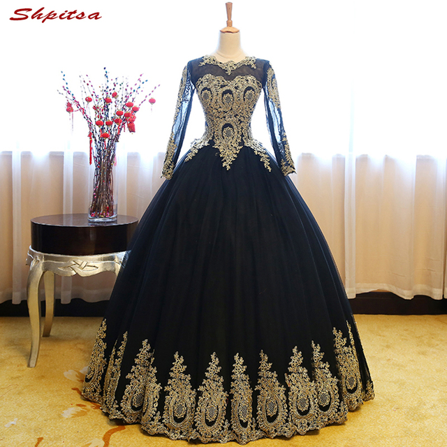 600a5fe9cd3 Black Long Sleeve Lace Quinceanera Dresses Ball Gown Girls Masquerade Ball  Gowns Sweet 16 Dresses vestidos de 15 anos debutantes