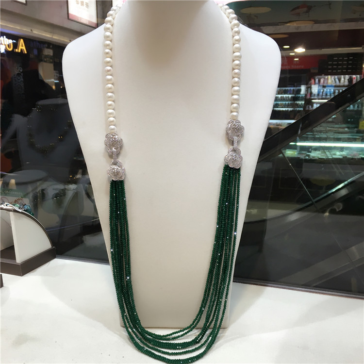 hot sell double use 9 -10 mm white freshwater pearl necklace green beads multilayer long sweater chain fashion jewelryhot sell double use 9 -10 mm white freshwater pearl necklace green beads multilayer long sweater chain fashion jewelry