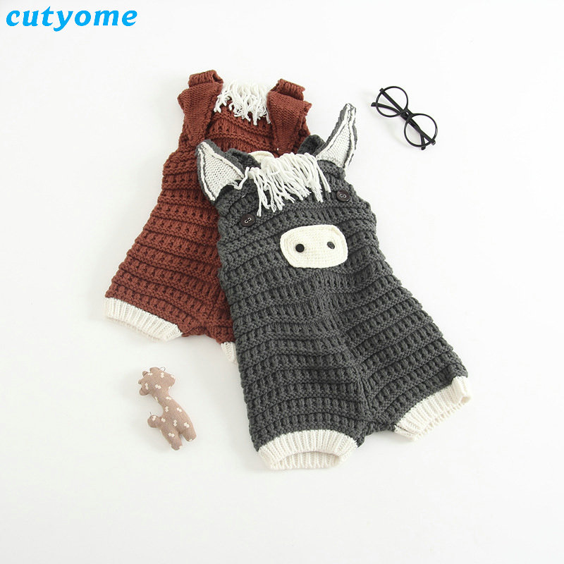 Newborn Baby Cotton Rompers Knitting Crochet Pig Costumes Overalls Clothes For Toddler Infant Boys Girls Jumpsuits Clothing unisex baby rompers cotton cartoon boys girls roupa infantil winter clothing newborn baby rompers overalls body for clothes