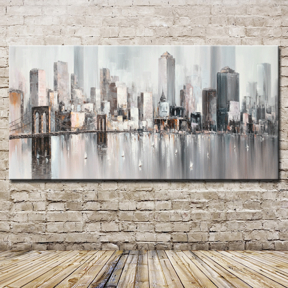 Mintura New York Skyline Cityscape Architecture Abstract Wall Art Hand Painted Oil Painting on Canvas Wall