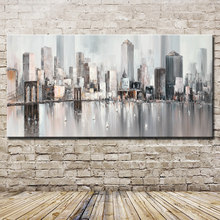 Mintura New York Skyline Cityscape Architecture Abstract Wall Art Hand Painted Oil Painting on Canvas Wall Pictures Home Decor(China)
