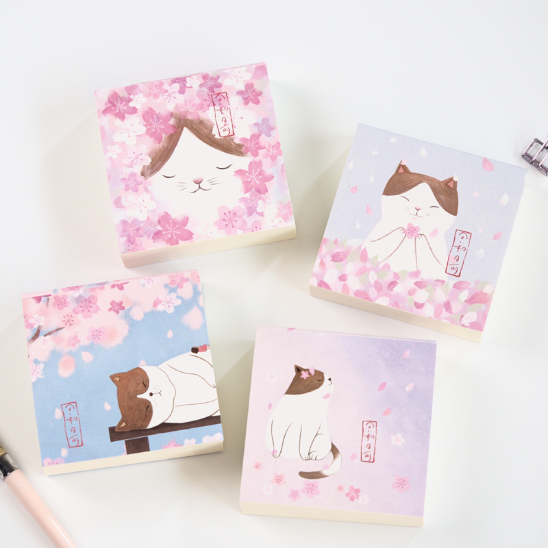 Cute Kawaii Creative Cat Memo Pad Post It Note Sticky Paper Korean Stationery Flower Planner Stickers Notepads School Office