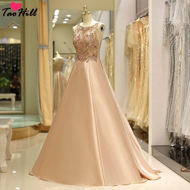 TaoHill luxe perlé paillettes cristal robes a-ligne Scoop cou Long Champagne or formel soirée fête femmes élégant