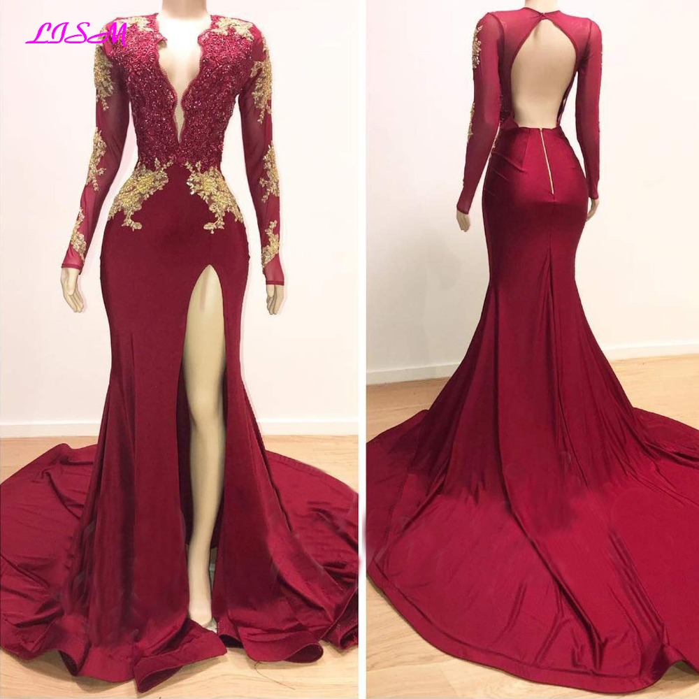 Vintage Mermaid Prom Dresses Deep V Neck Lace Long Sleeve Prom Dress 2019 Sexy High Split Open Back Gold Appliques Evening Gowns