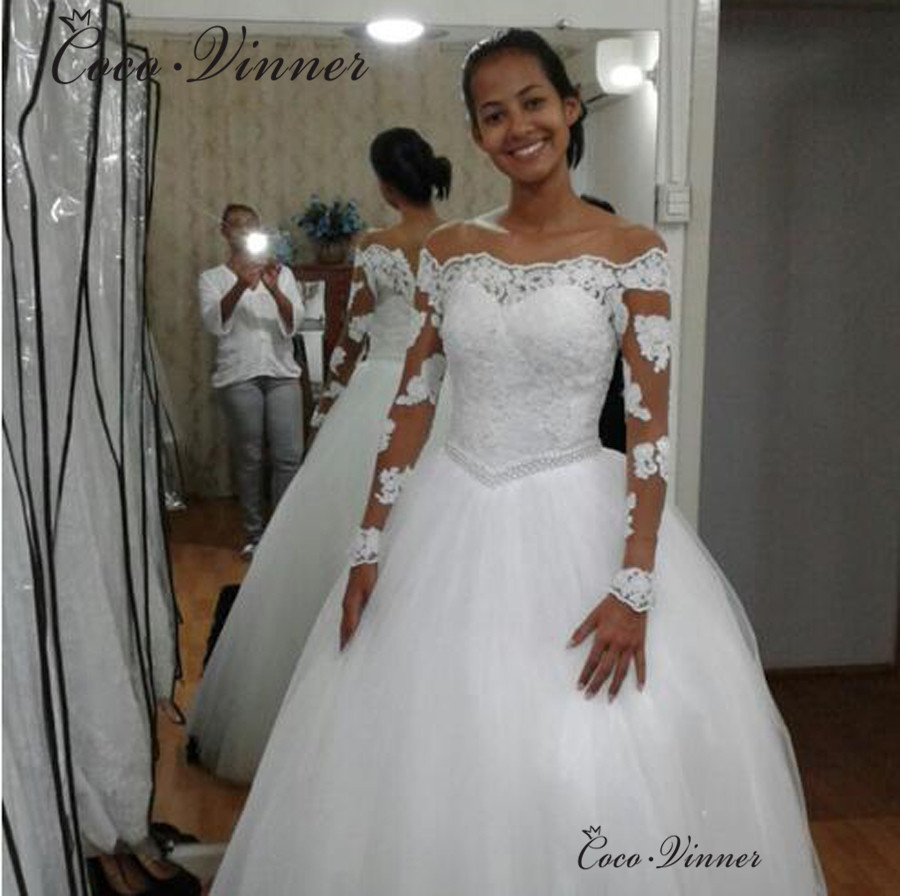 Robe De Mariee Ball Gown Africa Wedding Dress 2019 Off Shoulder Beading Sashes Pure White Vestido