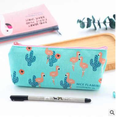 1 шт. Kawaii Фламинго карандаши для холста чехол каваи девушка PencilsBags прочный большая вместительность школьные принадлежности канцелярские товары 2018 Новинка