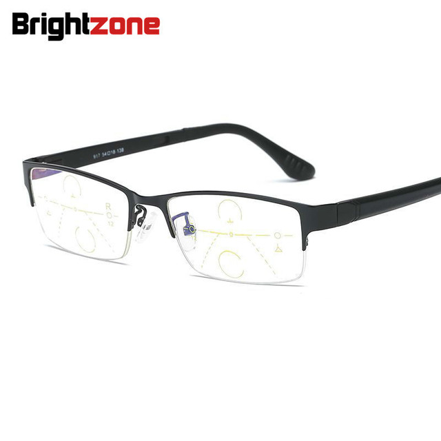 Brightzone Half Metal Rim TR90 Arms Zoom In Progressive Presbyopic Glasses Women Leesbril Oculos Lentes De Lectura Brillen Men