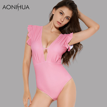 AONIHUA 2018 Pink Ruffles Plunging Swimsuit Women Summer Sexy Backless High cut One Piece Swimwear Push up Monokini female 2051