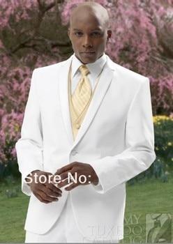 New Design White Shawl Lapel Groom Tuxedos Groomsmen Best Man Suit Men Wedding Suits Bridegroom Suit (Jacket+Pants+Vest+Tie
