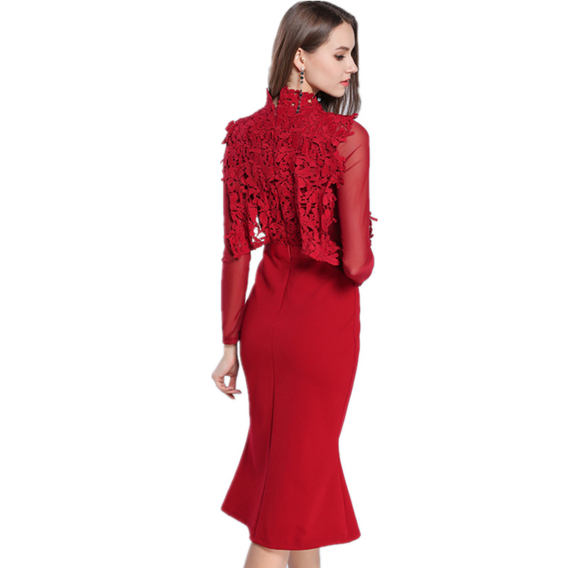 SMTHMA HIGH QUALITY Newest 2019 Designer Runway Red Dress Women's Long Sleeve Lace Patchwork Mermaid Dress 19