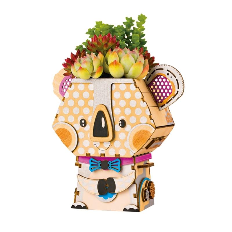 Robotime DIY Cartoon Koala Flower Pot for Succulent Plants Wooden Flowerpot Small Mini Home Office Garden