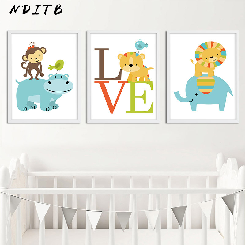 Woodland Animal Wall Canvas Painting Monkey Lion Cartoon Poster Nursery Print Decorative Picture Nordic Kids Bedroom Decoration
