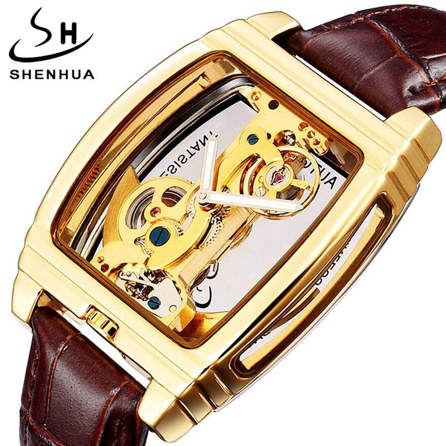 Reloj mecánico automático hombres oro Turbillon Steampunk único transparente esqueleto auto viento Turbillon relojes montre homme-in Relojes mecánicos from Relojes de pulsera    1