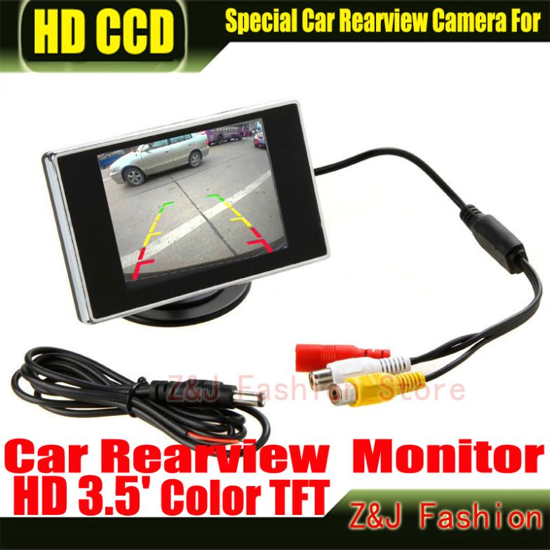 Free shipping New 3.5 Hign Definition Color Car monitor TFT LCD Rearview Monitor for DVD reversing camera Factory Selling