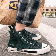 39-44 Canvas Shoes Men Fashion High Top Solid Color Mens Sneakers Autumn All Match Students Shoes Zip Zapatos De Hombre 2018