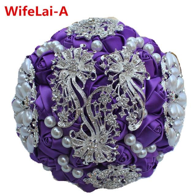 Romantic Purple Bridal Bouquets Full Diamond Beads Brooch Wedding Bouquets Crystal Holding Flowers Satin Bridesmaid Bouquet W253