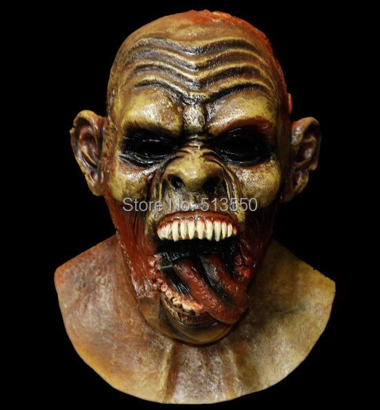 carnival crazed tongue licker undead monster deluxe halloween mask latex gorgorot zombie mask