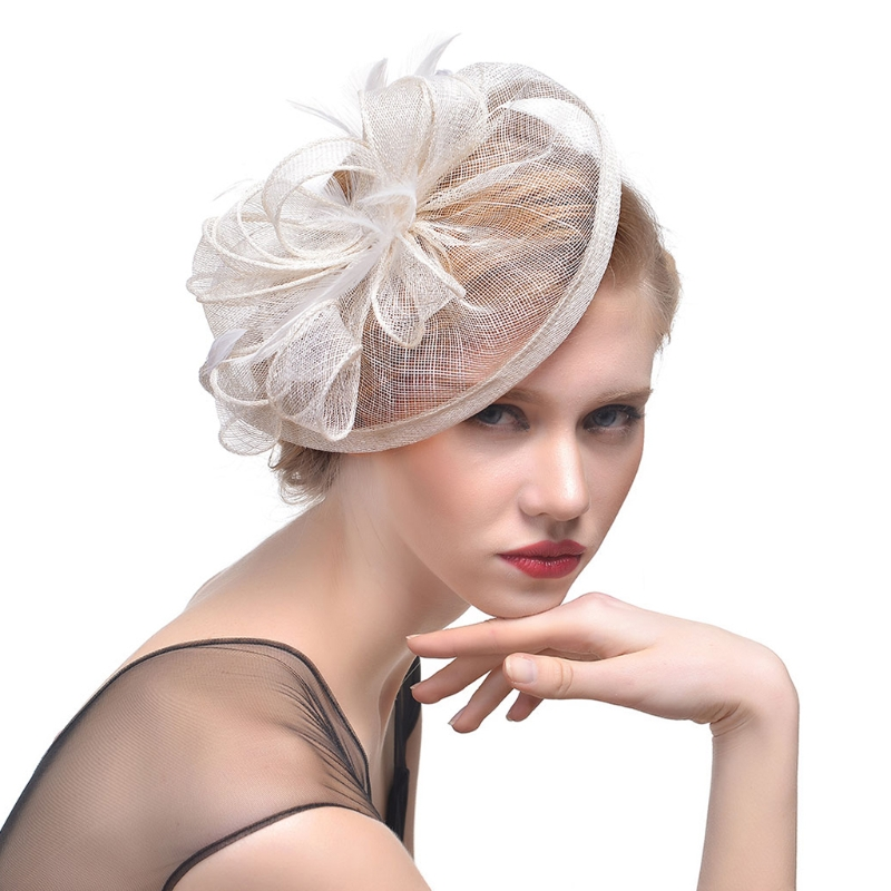 78cb7ee2 Bridal Wedding Hat Fascinator Feather Mesh Party Cocktail Headdress Hair  Flowers New gai-in Bridal Headwear from Weddings & Events