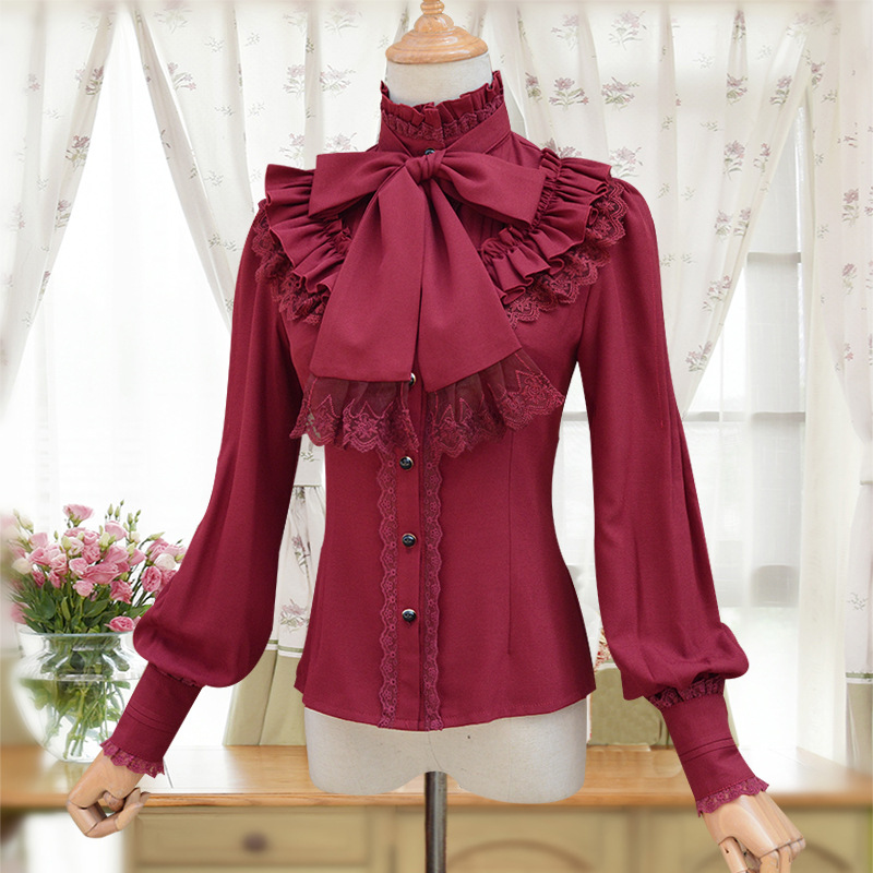 Red Lace Chiffon Ruffles Stand Collar Long Lantern Sleeve Lolita Vintage Blouse Women Victorian Gothic Shirt