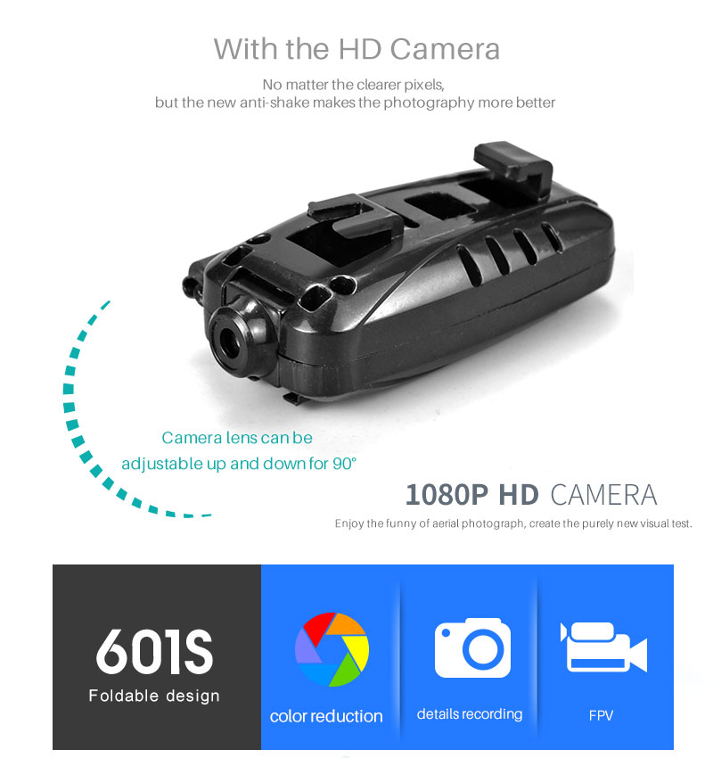 New RC Helicopter KY601S Drone with Camera HD 1080P WIFI FPV RC Drone Professional Foldable Quadcopter  Minutes Battery Life 9