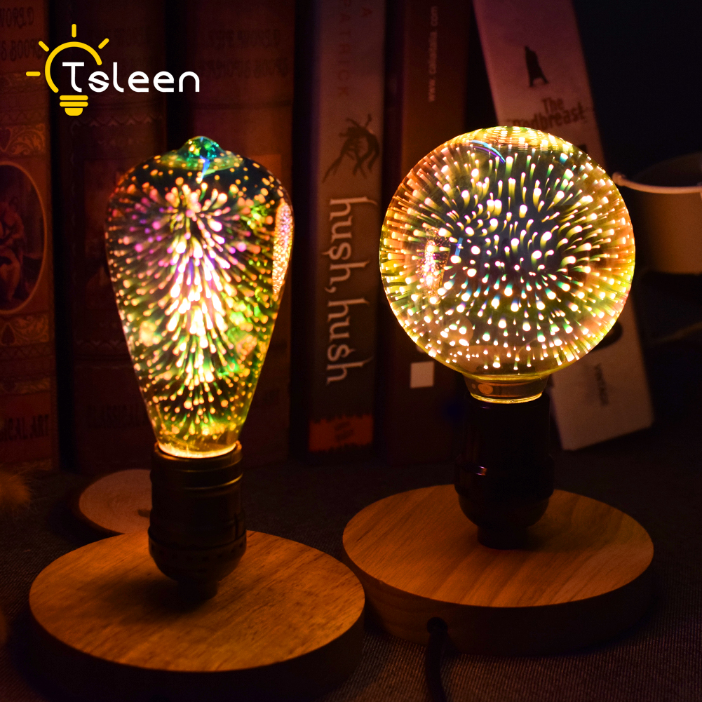 TSLEEN E27 LED 3D Decoration Light 110V 220V Novelty 360 RGB Lamp Filament Fireworks Effect Bulb 5W Holiday Lights Edison Bulbs