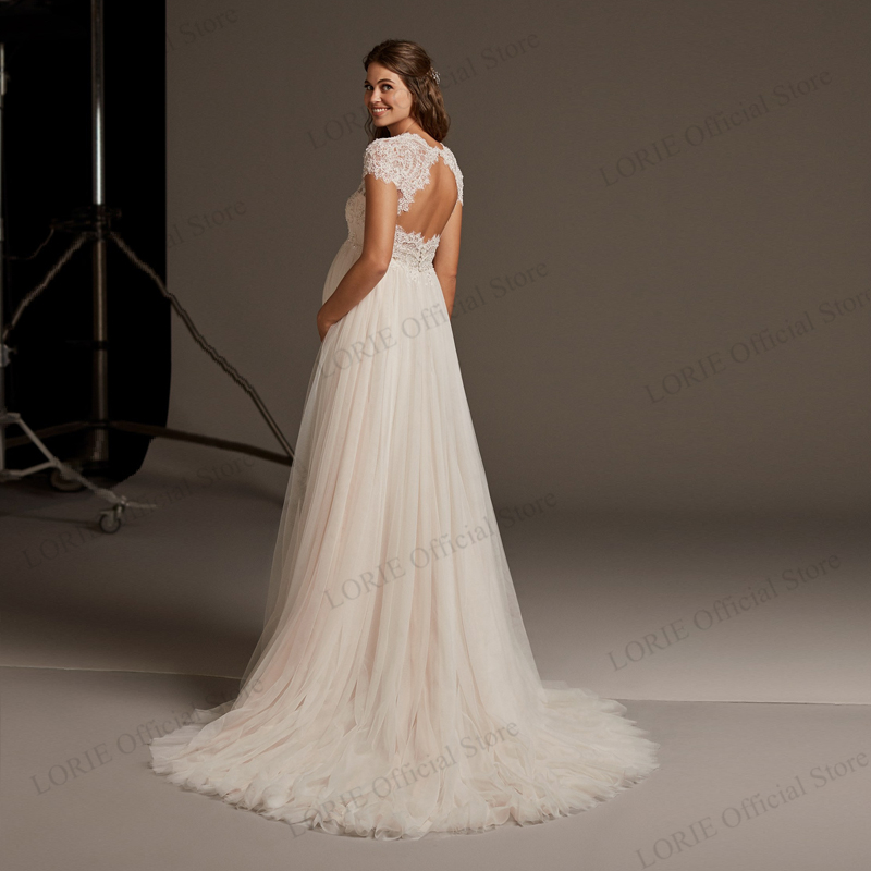 LORIE Pregnant A line Wedding Dress Tops Lace Appliqued with Skirts Chiffon Off the Shoulder Bridal Dresses Plus Size in Wedding Dresses from Weddings Events