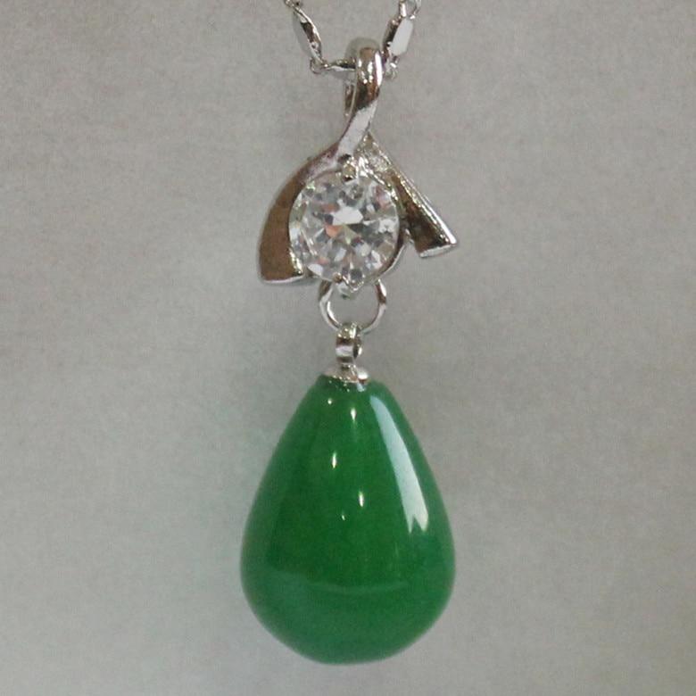 2015 New 12X16MM Bead 18K Platinum Plated Inlay CZ Dar Green jade Gift Fashion pendant +free chain