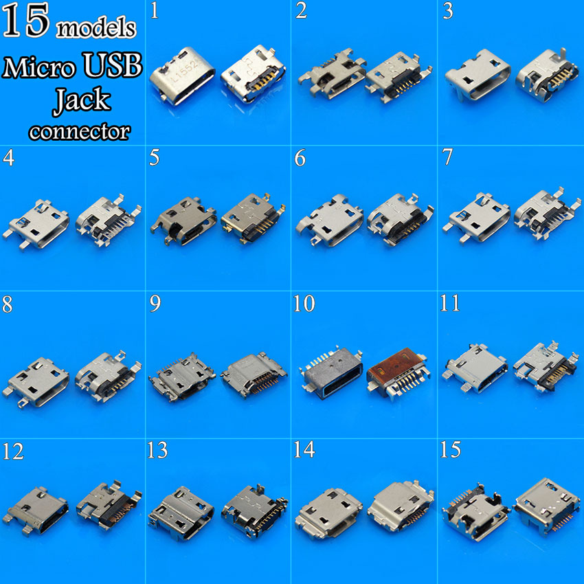 Image 2 - cltgxdd 15Models 150PCS Micro USB Jack 5P USB Connector for Samsung HTC Lenovo ZTE Phone Tablet PC USB Tail Charging Sockethtc usb connectorsamsung usb connectorsamsung charging connector -