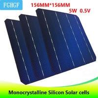 123 шт. 5 Вт 0,5 В A Класс 156*156 мм 6*6 PV дешевые монокристаллического кремния солнечных элементов 6x6 615 Вт для DIY Панели солнечные