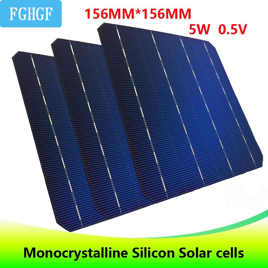 123PCS 5W 0 5V A Grade 156 156MM 6 6 PV cheap Monocrystalline Silicon Solar Cells
