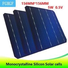 123 шт. 5 Вт 0,5 В A Класс 156*156 мм 6*6 PV дешевые монокристаллического кремния солнечного клетки 6×6 615 Вт для DIY Панели солнечные
