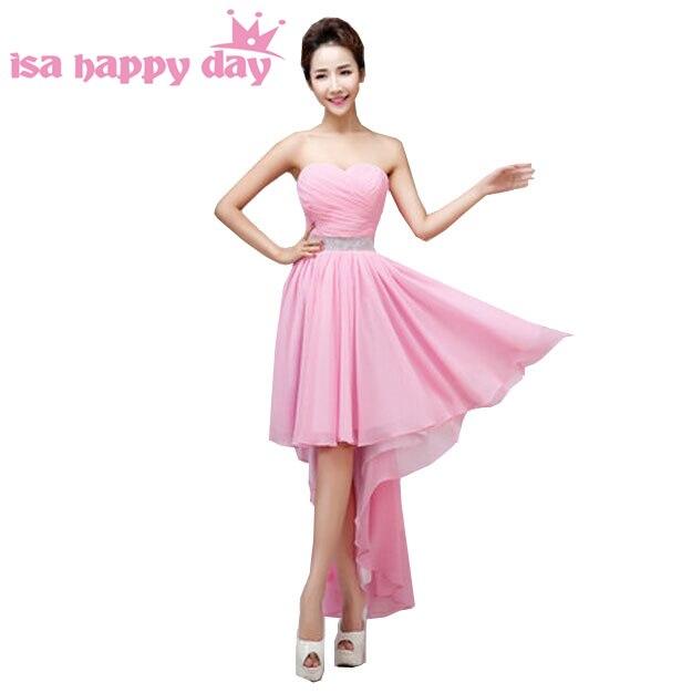 d19144a675e plus size elegant women high low royal blue short front long back prom dress  -chiffon pink dresses 2019 for wedding party H3115