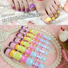 24PCS fashion design cute toes latest French style candy colorful fake toe Brown  #P57