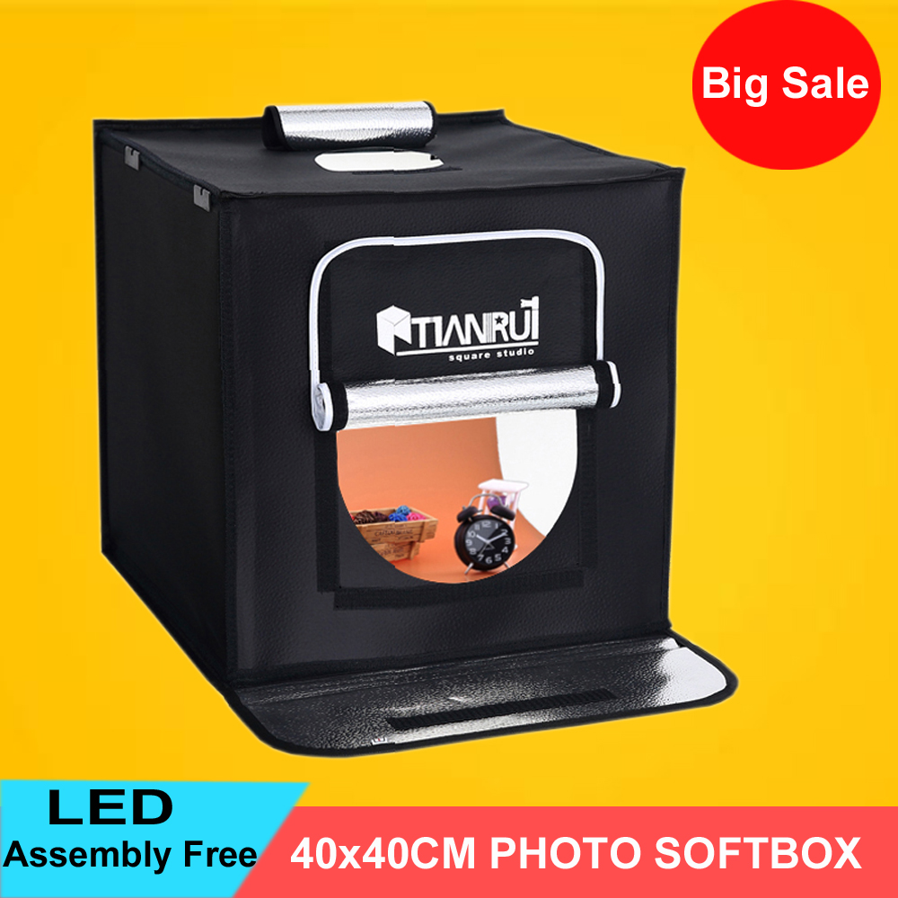 40*40cm Portable LED Photo Studio Softbox Shooting Light Tent Soft Box + AC Adapter for Phone Camera DSLR Jewelry Toys Shooting professional photographic equipment camera softbox with light stand photo studio soft box for dslr photography studio light box