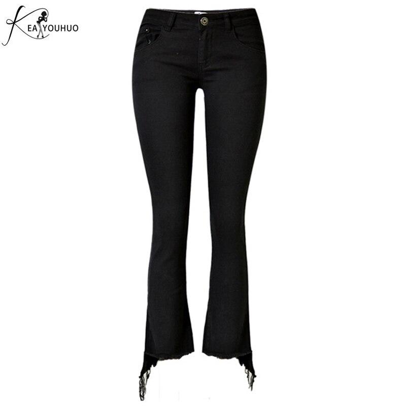 Skinny Trousers Streetwear OL Basic High Waist Casual Bell Bottom Crop Pants Tassels Jeans For Woman Solid Black Slim Flare Pant