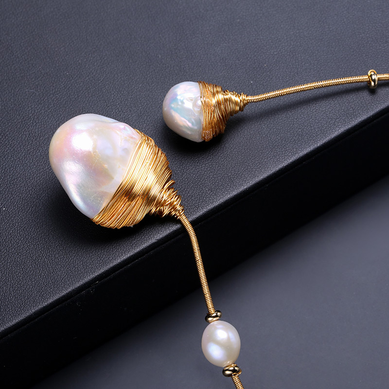 DAIMI or & perle collier Unique de luxe bijoux conceptions Baroque collier de perles 41-43 cm tour de cou Torques nouveau Style - 3