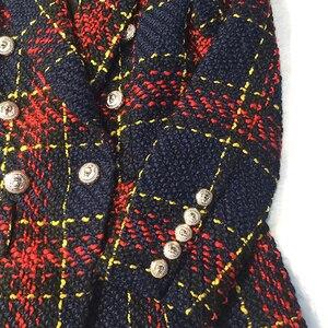 Image 5 - HIGH STREET Chaqueta de diseñador para mujer, chaqueta de lana de Tweed de colores a cuadros con botones de Metal de León, talla S XXL, 2020