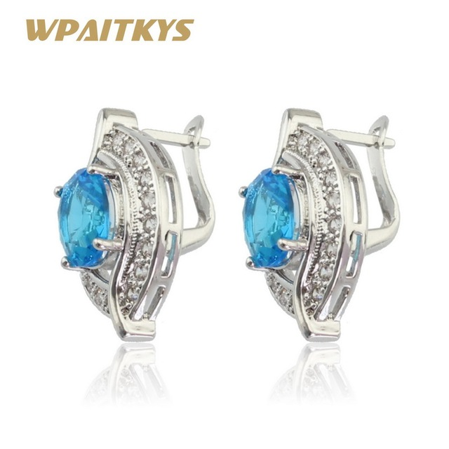 Wpaitkys Light Blue Crystal White Cubic Zirconia Silver Color Hoop Earring For Women Jewelry Free Gift