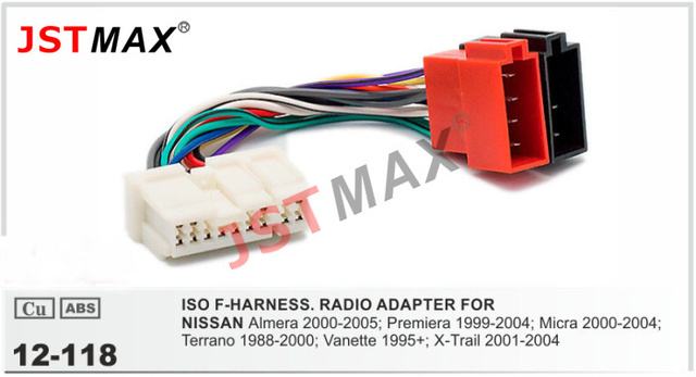 JSTMAX ISO cable car Radio stereo Adapter for NISSAN Almera Premiera Micra Terrano Wiring Harness Connector_640x640 jstmax iso cable car radio stereo adapter for nissan almera iso wire harness at highcare.asia