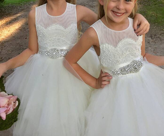 ca860f691 flower girl dress 'Bianca' with rhinestone sash sheer netting lace puffy  butterscotch tulle birthday dress-in Dresses from Mother & Kids on  Aliexpress.com ...
